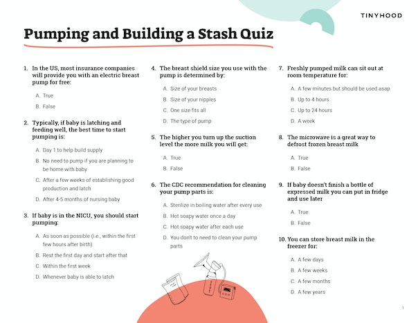 Pumping and Building a Stash Quiz Preview Image