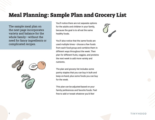 Sample Weekly Meal Plan and Grocery List Preview Image